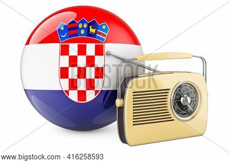 Radio Broadcasting In Croatia Concept. Radio Receiver With Croatian Flag. 3d Rendering Isolated On W