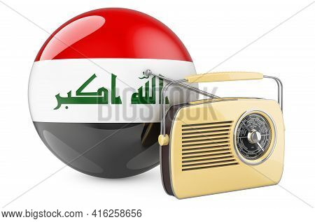 Radio Broadcasting In Iraq Concept. Radio Receiver With Iraqi Flag. 3d Rendering Isolated On White B