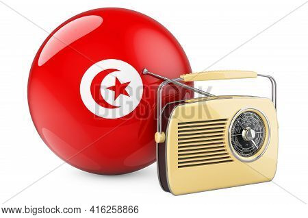 Radio Broadcasting In Tunisia Concept. Radio Receiver With Tunisian Flag. 3d Rendering Isolated On W