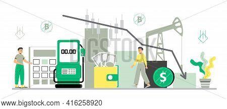 Oil Price Decreasing Concept Vector. Petroleum Stock Market Crisis, Default. Coronavirus Impact On F