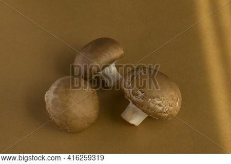 Raw Royal Mushrooms Champignons On A Brown Background. Cooking Fresh Champignons.