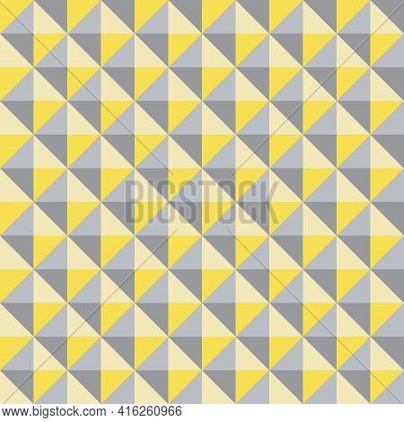 Vector 3d Pyramid Shaped Stud Seamless Pattern Background. Studded Backdrop With Shaded Triangles. Y