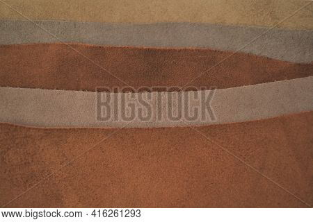 Leather Pieces Assortment Background.brown Genuine Leather .raw Materials For Making Accessories, Sh