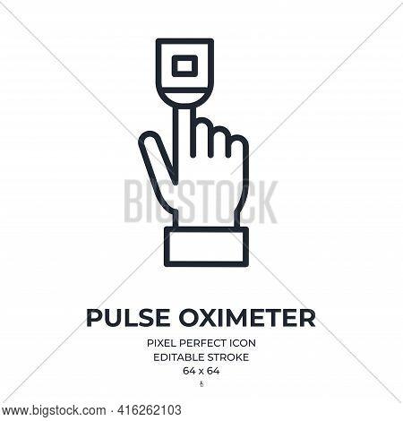 Oximeter Editable Stroke Outline Icon Isolated On White Background Vector Illustration. Pixel Perfec