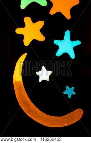 Black Background With Colorful Stars And The Moon