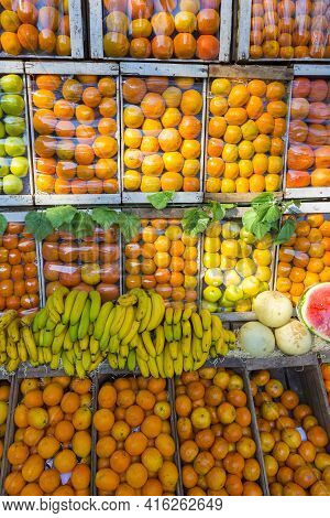 Presentation Of Fresh Fruits Outside A Fruit Shop In The Center Of Buenos Aires. Argentina 2014