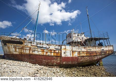 Shipwreck With Blue Sky In The Background In Camaret-sur-mer, Brittany, France, Europe