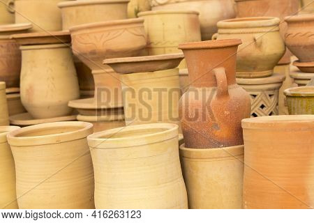 Handmade Moroccan Clay Dishware In A Pottery Shop Near Tiznit, In Morocco