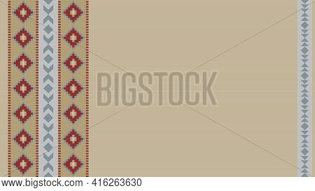 Ethnic Tribal Pattern Background With Copy Space For Text. Beige, Red And Grey Colors. For Banner, F
