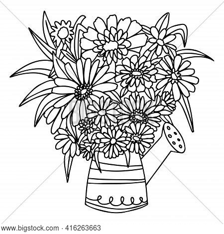 Vector Vase Of Flowers In Doodle Style On A Transparent Background. A Watering Can Instead Of A Flow