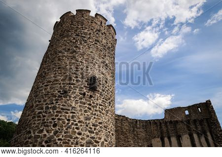 Summer View Of The Medieval Castle Ruins Of Keysersberg, Famous Winemaking Village In Alsace, Near C