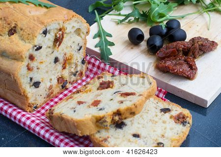 Snack Bread With Sun-dried Tomatoes And Black Olives