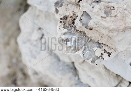 Mineral Inside Of Stone. Unpolished Quartz Excavating Or Deposit. Semi-precious Gems Mining