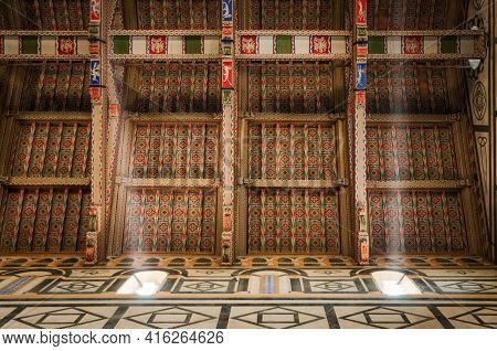 Church Of San Miniato Al Monte, In Florence, Italy. Detail Of The Wooden Painted And Decorated Ceili