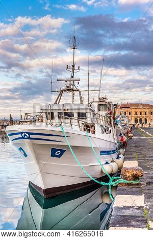 Fishing Boats Moored In The Pier Of Syracuse Sicily