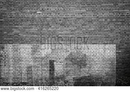 Solid Texture Of An Empty Brick Wall Of Two Shades Of Black And White For Background And Wallpaper