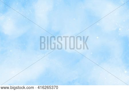 Hand Painted Watercolor Sky And Clouds. Blue Abstract Watercolor Background. Vector Illustration