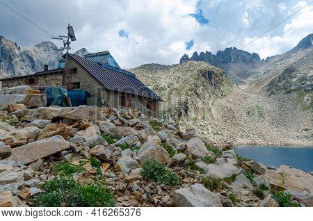 Mountain Refuge Emilio Questa And Lake Of Portette In Maritime Alps Park