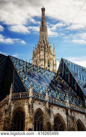 The Cathedral Of Vienna (stephandsdom) Dedicated To Saint Stephen, With Its Glazed Tiles Roof And Th