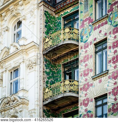 The Majolica House (majolikahaus) With Its Floral Ornamentation Near Naschmarkt In Vienna (austria);