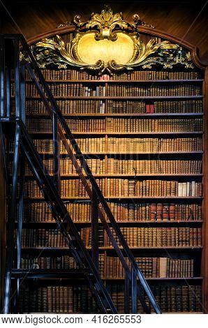 Antique Wooden Illuminated Bookshelf With Stair Ladder