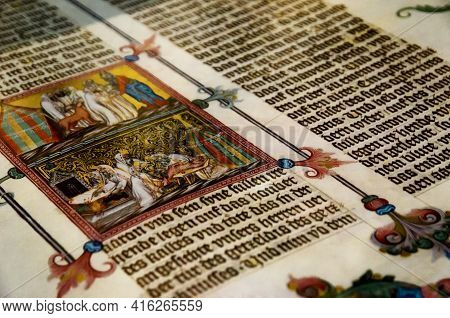 Vienna, Austria - May 20, 2017: Ancient Tome With Miniature In Austrian National Library, Vienna, On