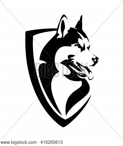 Siberian Husky Head And Simple Heraldic Shield - Guard Dog Insignia Badge Modern Black And White Vec
