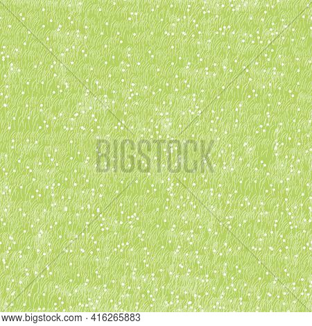 Cartoon Seamless Green Grass In Summer,vector Pattern Nature Lawn Field Texture, Cute Endless Tiny W