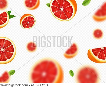 Ripe Juicy Tropical Grapefruit Falling On Transparent Background. . Blurred Fresh Citrus Grapefruit