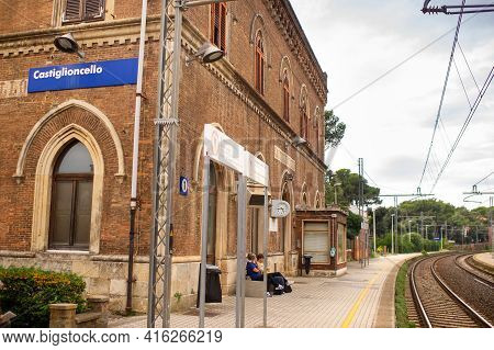 October 10, 2018.castiglioncello, Livorno, Tuscany, Italy: An Old Railway Station In An Old Village