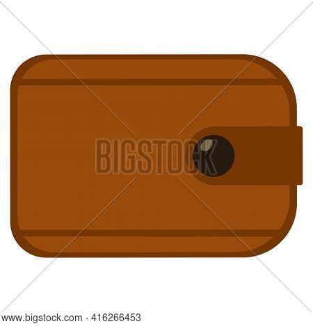 Brown Wallet, Isolated On White Background. Leather Purse For Money.