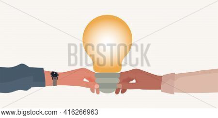 Metaphor. Hand Holding A Light Bulb Giving It To Another Hand. Teaching Concept. Teacher Coach Mento