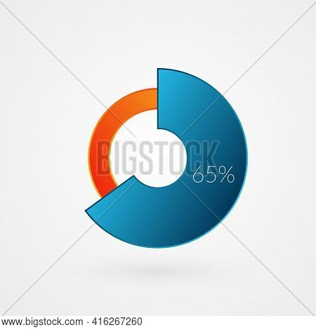 65 Percent Isolated Pie Chart. Percentage Vector, Infographic Gradient Icon. Circle Sign For Busines