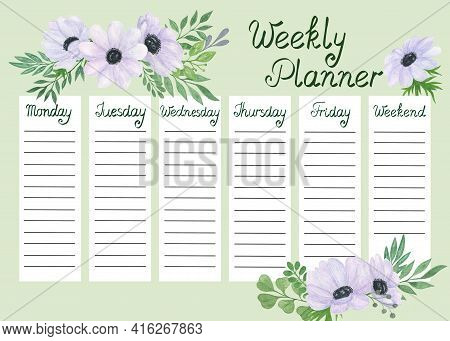Weekly Planner Template Watercolor Floral Illustration, Organizer For Daily Plans, Timetable, Schedu