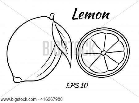 Bright Yellow Lemon. A Whole Lemon And A Sliced Wedge. Vector Illustration On A Beome Background. Ca
