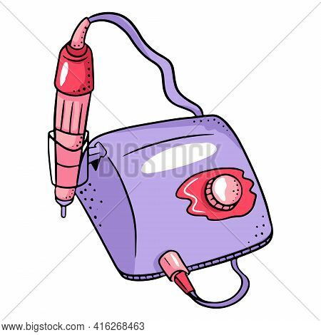 Manicure Apparatus For Combined Manicure. Tool For Manicure And Pedicure. Vector Illustration In Car