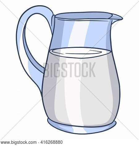 A Jug Of Milk. Milk Products. Fresh Milk. Farm Products. Vector Illustration In Cartoon Style For De