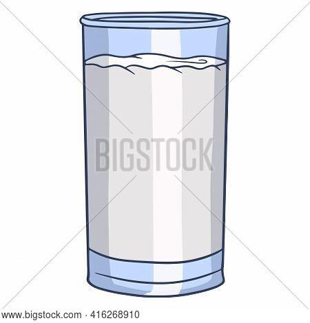 Milk In A Glass Beaker. Milk Products. Fresh Milk. Farm Products. Vector Illustration In Cartoon Sty