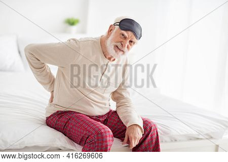 Photo Of Elderly Man Sit On Bed Home Unhappy Sad Upset Ache Hurt Spasm In Spine Health Healthcare Me
