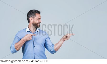 Unshaven Male Employer In Formalwear Or Office Manager Pointing Finger On Copy Space, Advertisement