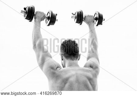 Happy And Sporty. Healthy Lifestyle. Muscular Back Man Exercising In Morning With Barbell. Athletic