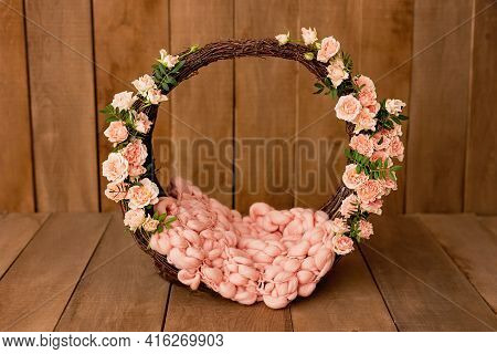Newborn Digital Background Spring Flowers Basket Prop For Newborn. For Boys And Girls. Wood Back. Sh
