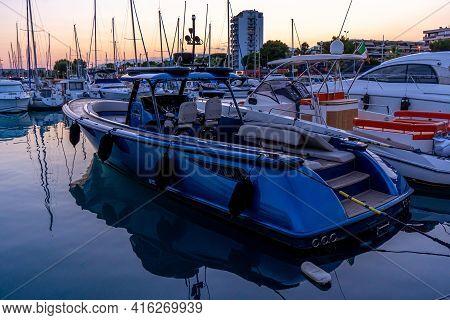 St-laurent-du Var, France: 21.07.2020 Yacht Club Early In The Morning. Mediterranean Coast. Hight Qu