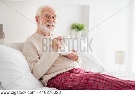 Photo Of Elderly Man Happy Positive Smile Lying Bed Home Happy Positive Smile Enjoy Morning Cup Of C