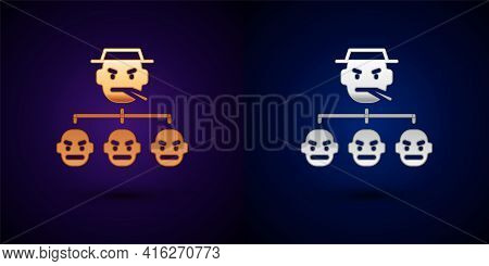 Gold And Silver Mafia Icon Isolated On Black Background. Boss And Gangsters. Vector