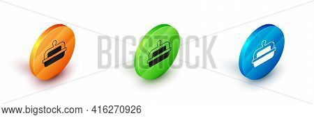 Isometric Butter In A Butter Dish Icon Isolated On White Background. Butter Brick On Plate. Milk Bas