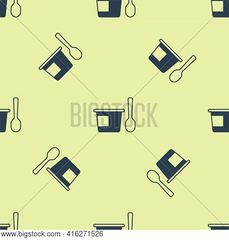 Blue Yogurt Container With Spoon Icon Isolated Seamless Pattern On Yellow Background. Yogurt In Plas