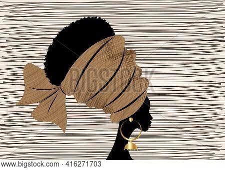 Portrait Beautiful African Woman In Traditional Turban Handmade Tribal Motif, Kente Head Wrap Africa