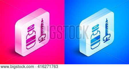 Isometric Medical Syringe With Needle Icon Isolated On Pink And Blue Background. Vaccination, Inject