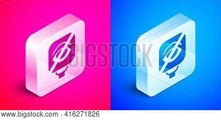Isometric Blindness Icon Isolated On Pink And Blue Background. Blind Sign. Silver Square Button. Vec
